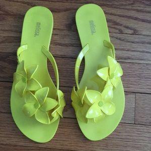 Melissa yellow flower flip flops